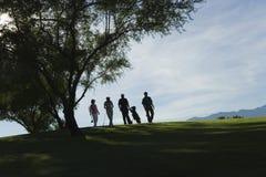 Jogadores de golfe da silhueta que andam no campo de golfe Fotografia de Stock