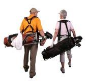 Jogadores de golfe maduros do homem e da mulher fotografia de stock