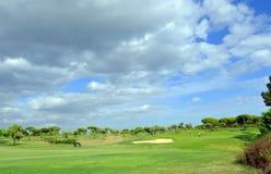 Jogadores de golfe no campo de golfe, EL Rompido, a Andaluzia, Espanha Foto de Stock