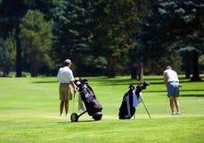 Jogadores de golfe no verde Fotografia de Stock Royalty Free