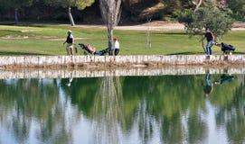 Jogadores de golfe refletidos no lago Imagens de Stock
