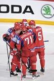 Jogadores de hóquei em gelo do russo Foto de Stock Royalty Free