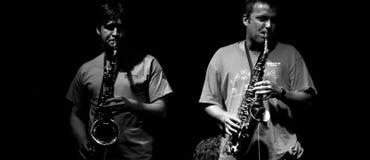 Jogadores de saxofone Foto de Stock Royalty Free