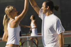 Jogadores de ténis felizes Foto de Stock