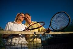 Jogadores de ténis sênior Fotos de Stock Royalty Free