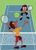 Jogadores de tênis na corte ilustração do vetor