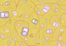 Jogadores mp3 hand-drawn frescos Fotos de Stock