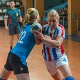 Jogadores não identificados do handball Imagens de Stock