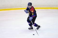 Jogadores na ação no final do hóquei em gelo do Copa del Rey Fotografia de Stock Royalty Free