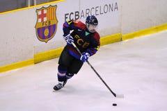 Jogadores na ação no final do hóquei em gelo do Copa del Rey Imagem de Stock