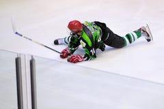 Jogadores na ação no final do hóquei em gelo do Copa del Rey (copo espanhol) Fotos de Stock Royalty Free