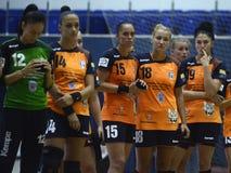 Jogadores tristes do handball das mulheres Fotos de Stock Royalty Free