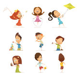 Jogando as crianças ajustadas Fotografia de Stock Royalty Free