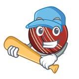Jogando a bola de grilo do basebol em uma cesta da mascote ilustração do vetor
