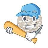 Jogando bolos de arroz do basebol em um caráter do frasco ilustração stock