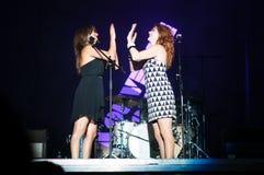 Jogando cantores Fotos de Stock Royalty Free