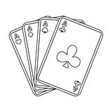 Jogando cartões plásticos para jogar o pôquer no casino ilustração stock