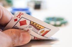 Jogando a cena ascendente próxima do pôquer foto de stock