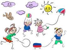 Jogando desenhos animados das crianças Foto de Stock Royalty Free
