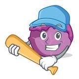 Jogando desenhos animados do caráter da couve vermelha do basebol Imagem de Stock Royalty Free