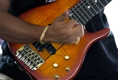 Jogando a guitarra baixa (jazz) Fotos de Stock