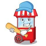 Jogando a máquina do popcron do basebol na forma de caráter ilustração stock