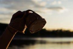 Jogando maracas ou caxixi de um instrumento musical no céu do fundo no por do sol foto de stock