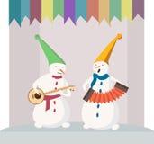 Jogando o boneco de neve Imagens de Stock