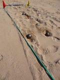 Jogando o boule na praia Imagem de Stock