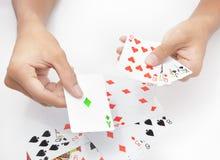Jogando o cartão verde Fotografia de Stock Royalty Free