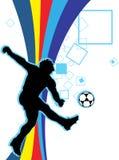 Jogando o futebol Fotografia de Stock