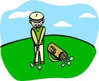 Jogando o golfe ilustração stock