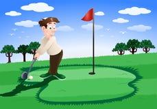Jogando o golfe Fotografia de Stock Royalty Free