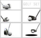 Jogando o golfe. Esfera e clube de golfe. Imagens de Stock