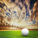 Jogando o golfe. Esfera no campo do golfe imagem de stock royalty free