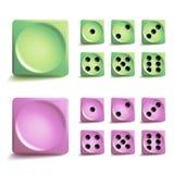 Jogando o grupo do vetor dos dados Cubos diferentes do jogo das variações isolados Ícones da coleção de Aauthentic no estilo real Imagem de Stock Royalty Free