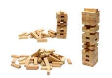 Jogando o jenga Imagem de Stock