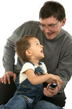 Jogando o pai e o filho fotos de stock