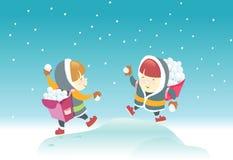 Jogando o Snowball Fotografia de Stock Royalty Free