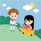 Jogando o vetor Art Logo Template da ilustração das crianças e a ilustração Foto de Stock
