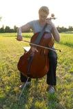 Jogando o violoncelo no prado imagem de stock royalty free