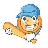 Jogando a pizza de queijo do basebol serviu na placa dos desenhos animados ilustração do vetor