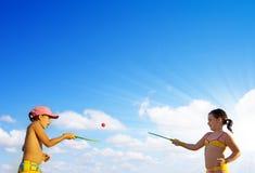 Jogando raquetes Imagens de Stock Royalty Free