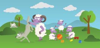 Jogando Sheeps e lobos Fotografia de Stock Royalty Free