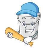 Jogar a cubeta plástica do tubo do basebol isolou o caráter ilustração do vetor