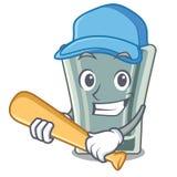Jogar o basebol disparou no vidro isolado com a mascote ilustração do vetor