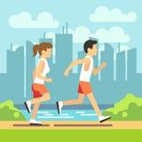 Jogga sportfolk, den idrotts- rinnande mannen och kvinnan Vektorsjukvårdbegrepp stock illustrationer