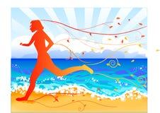 jogger падения пляжа Стоковое Изображение RF
