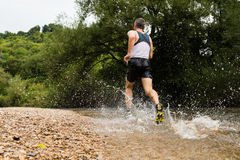 Jogger через streambed Стоковые Изображения