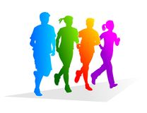 Jogger. Abstract and colorful silhouettes of different runners Stock Photo